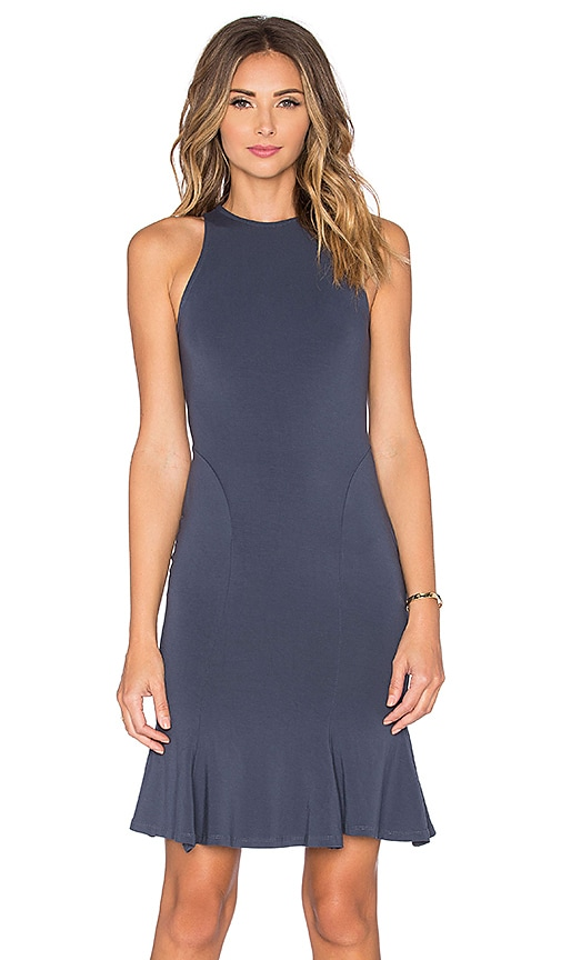 Bobi Jersey Pleated Tank Dress in Dark Cloud