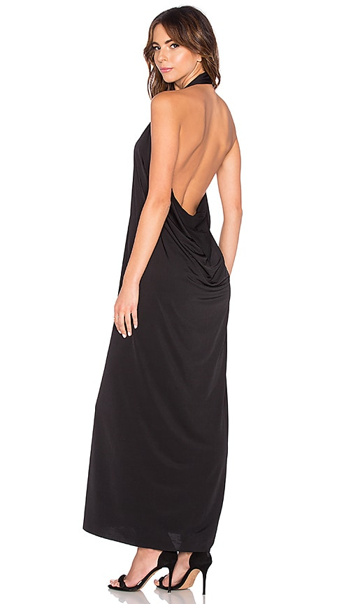 Bobi BLACK Luxe Liquid Jersey Halter Dress in Black