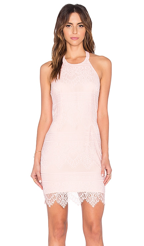 Bobi BLACK Lace Mini Dress in Blush