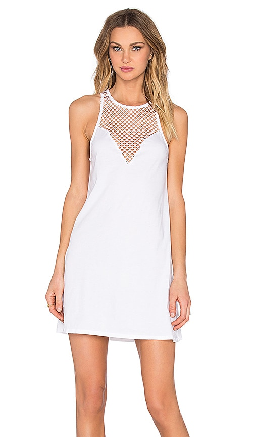 Bobi Pima Cotton Sweetheart Mini Dress in White