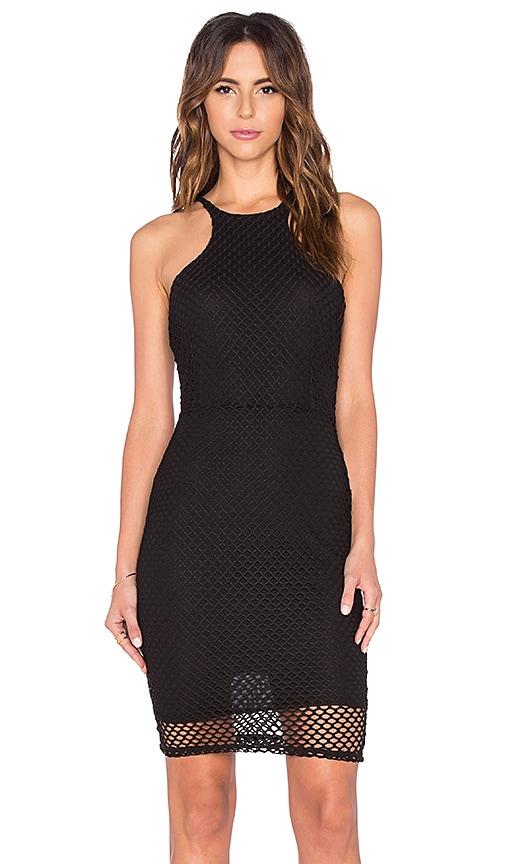 Bobi Pima Cotton High Neck Midi Dress in Black