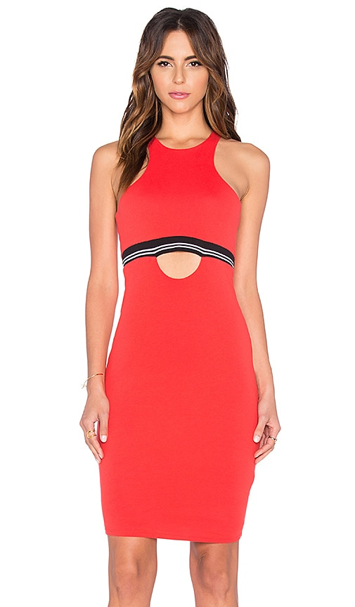 Bobi Pima Cotton Cut Out Midi Dress in Retro Red
