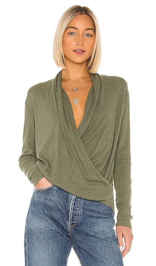 Heathered Rib Surplice Sweater