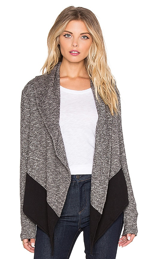 Bobi French Terry Light Weight Cashmere Cardigan in Black