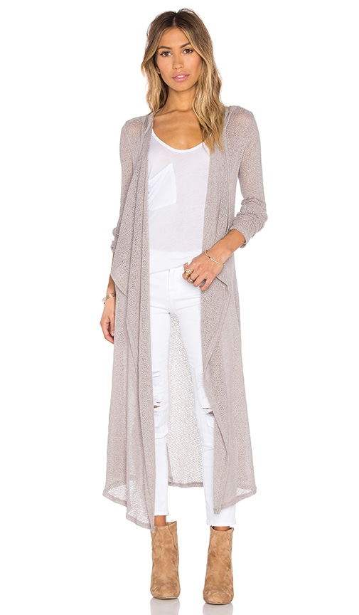 Bobi Mesh Sweater Long Sleeve Long Cardigan in Taupe