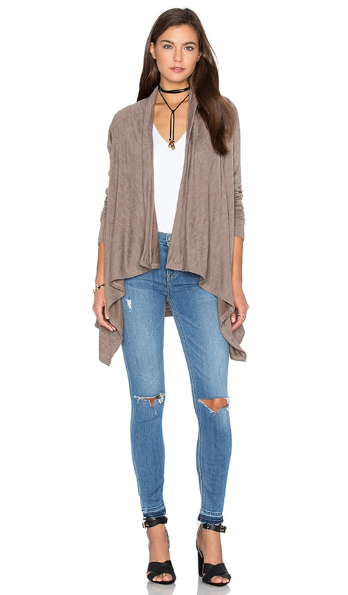 Bobi Fine Woolen Jersey Long Sleeve Wrap Cardigan in Brown