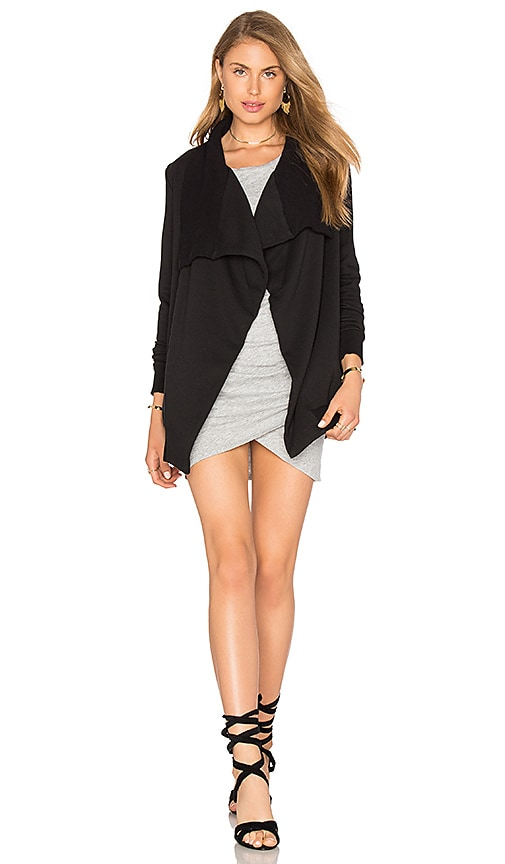 Bobi Cozy French Terry Long Sleeve Cardigan in Black