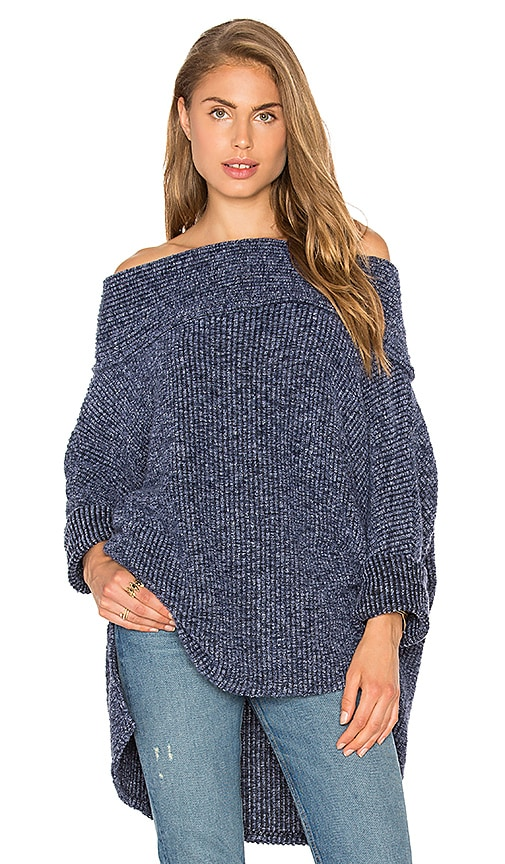 Bobi Sweater Rib Off the Shoulder Sweater in Blue