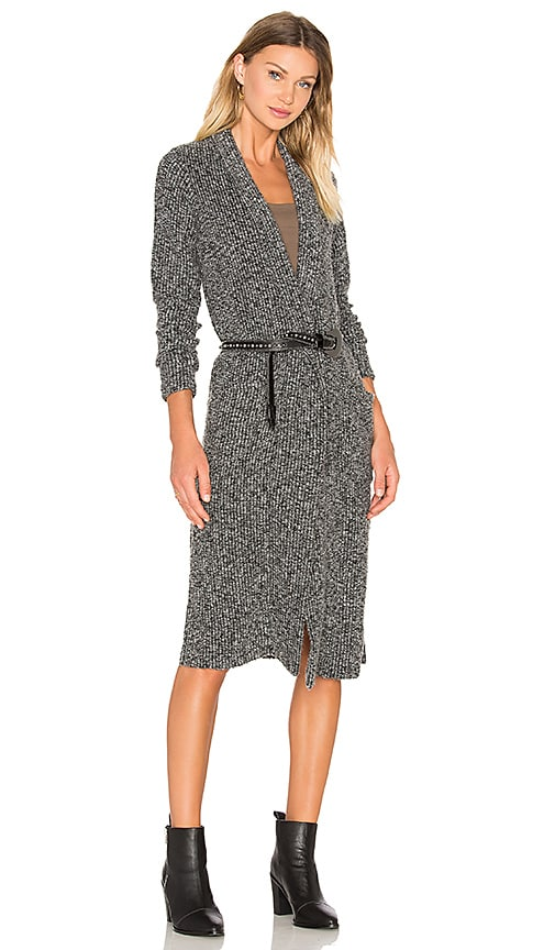 Bobi Rib Long Cardigan in Charcoal