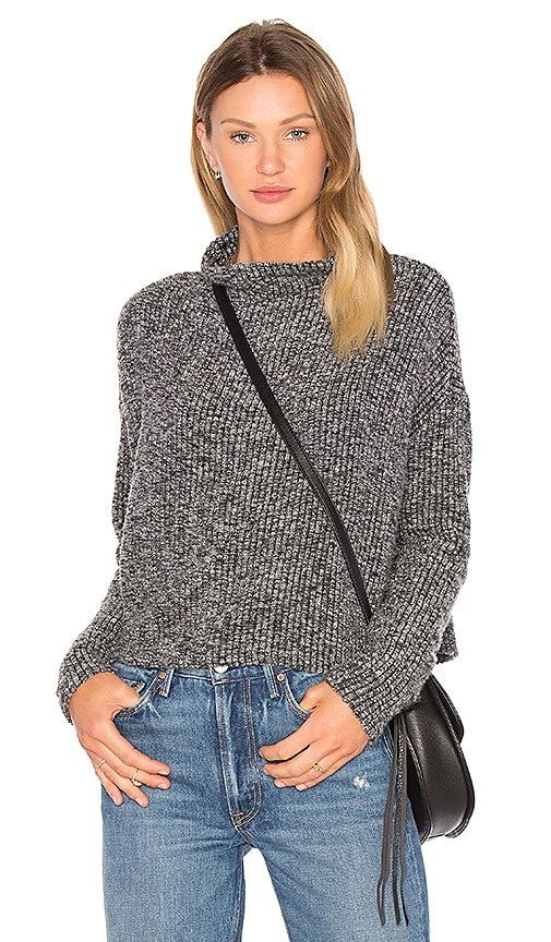 Bobi Rib Long Sleeve Turtleneck Sweater in Black