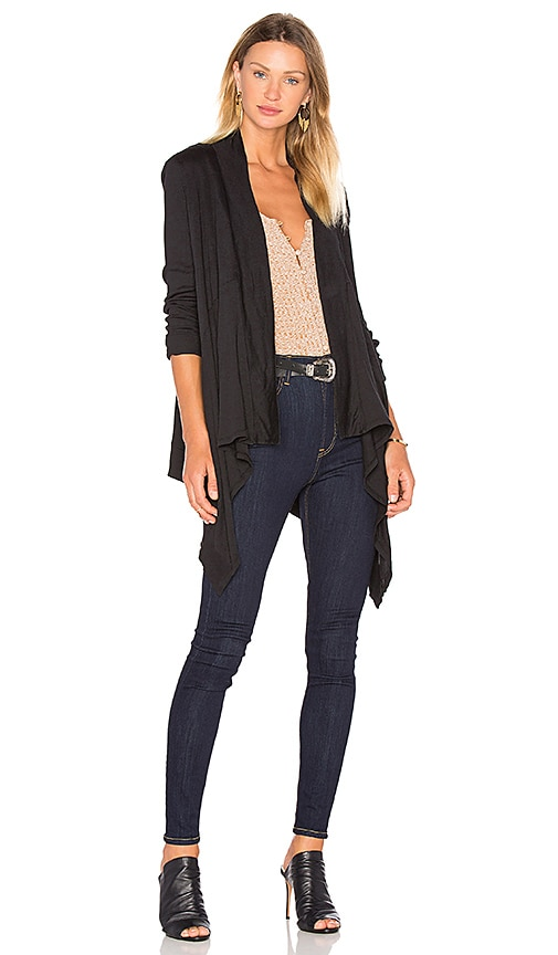 Bobi Light Weight Jersey Long Sleeve Cardigan in Black