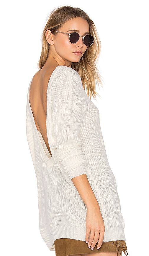 Bobi Cashmere V Back Sweater in White