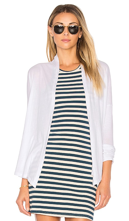 Bobi Light Weight Jersey Cardigan in White