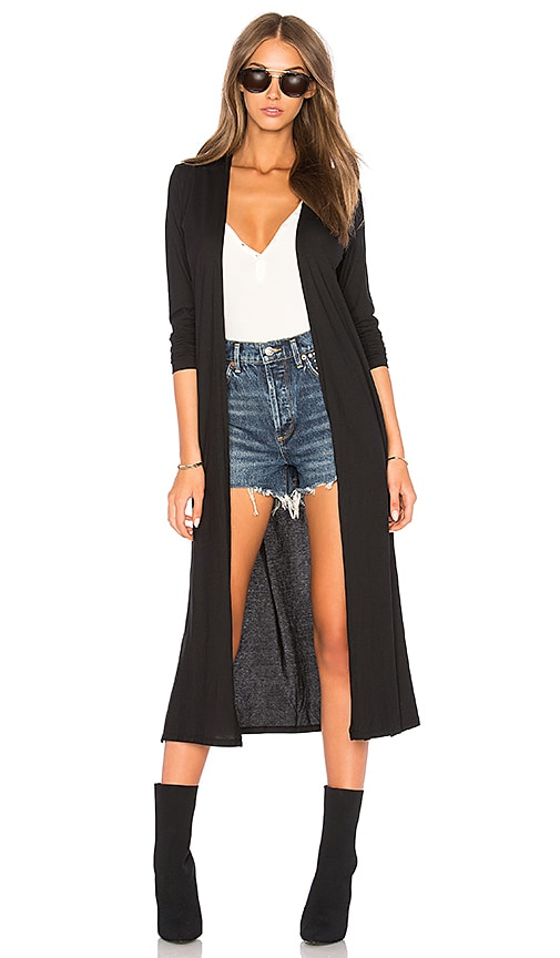Bobi Feather Weight Jersey Cardigan in Black