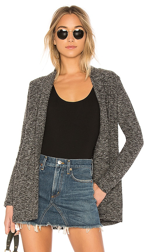 Bobi Ribbed Cardigan in Black