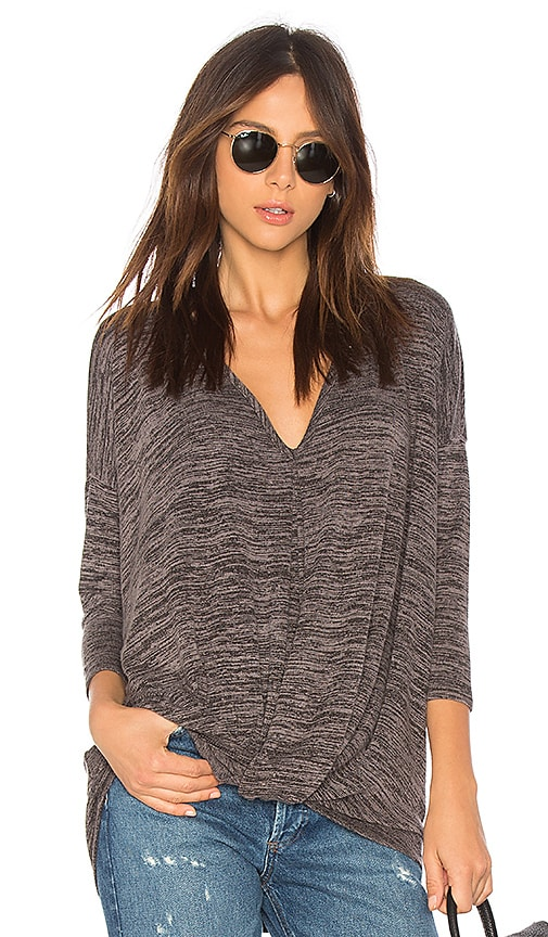Bobi Heather Knotted Sweater in Gray