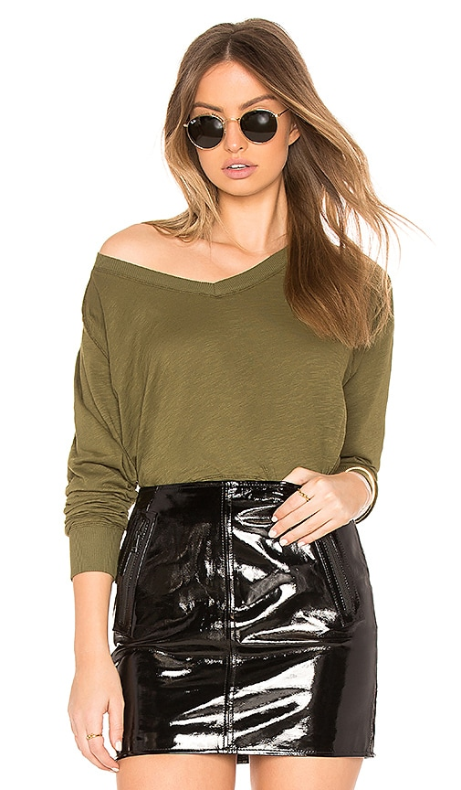 Bobi Jersey Long Sleeve Sweater in Army