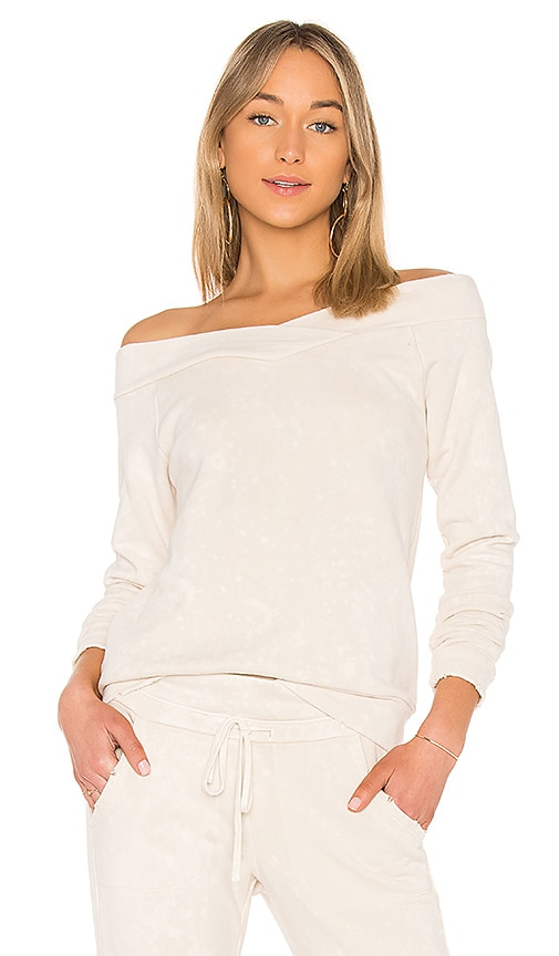 Bobi Paint Rolled Terry Sweatshirt in Beige