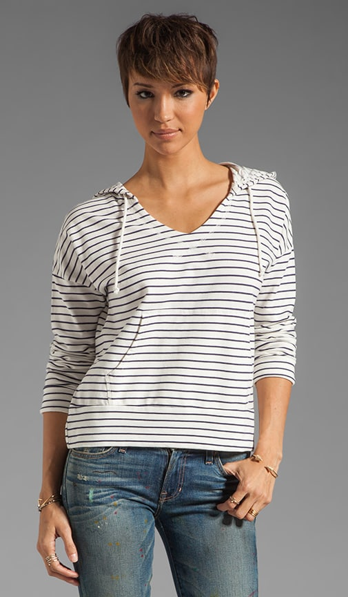Stripe Cashmere Terry Hoodie