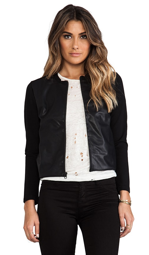 Bomber Jacket with Leather Front