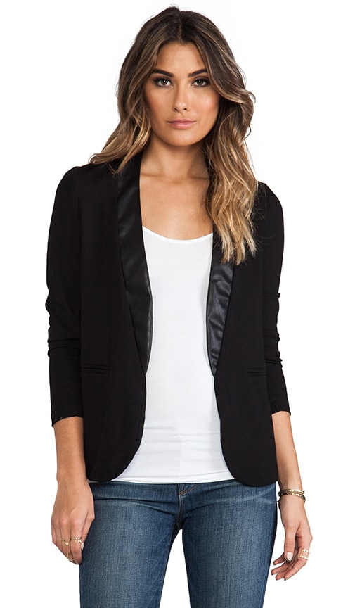Blazer with Leather Detail