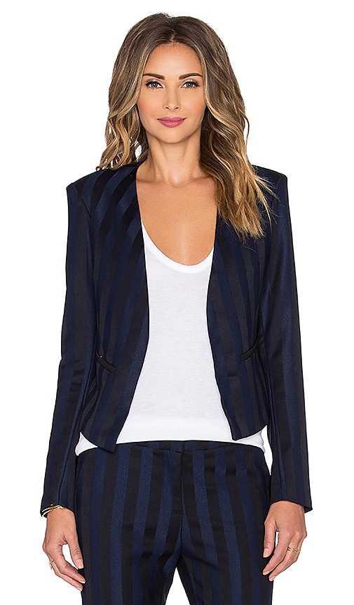 Bobi BLACK Striped Suiting Blazer in Blue