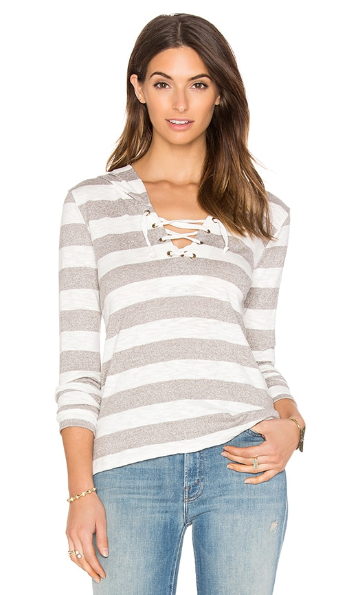 Bobi Slub Stripe Lace Up Detail Hoodie in Grey & White
