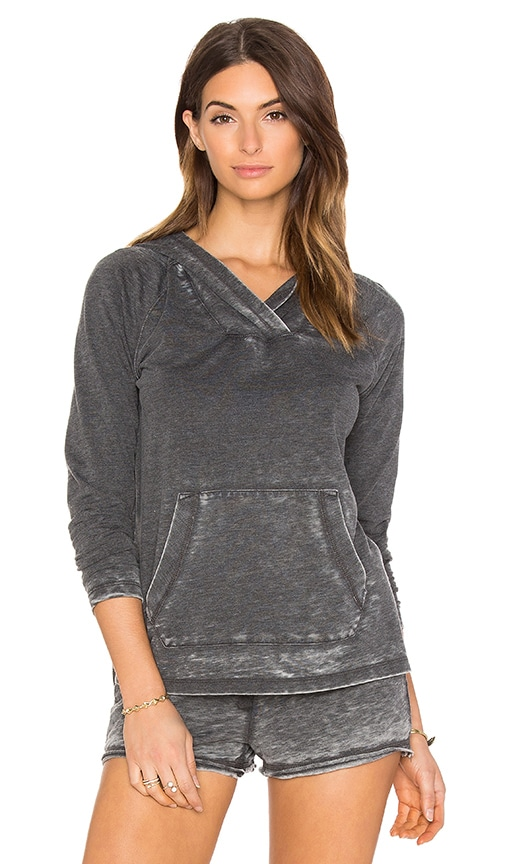 Bobi Burnout Terry Long Sleeve Hoodie in Charcoal