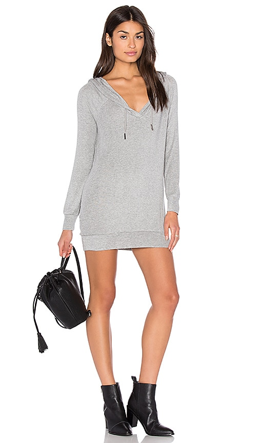 Bobi Draped Rib Long Sleeve V Neck Hoodie in Grey