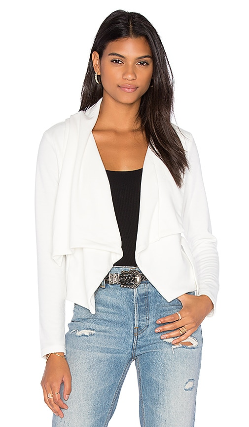 Bobi Knit Boucle Long Sleeve Front Draped Blazer in White