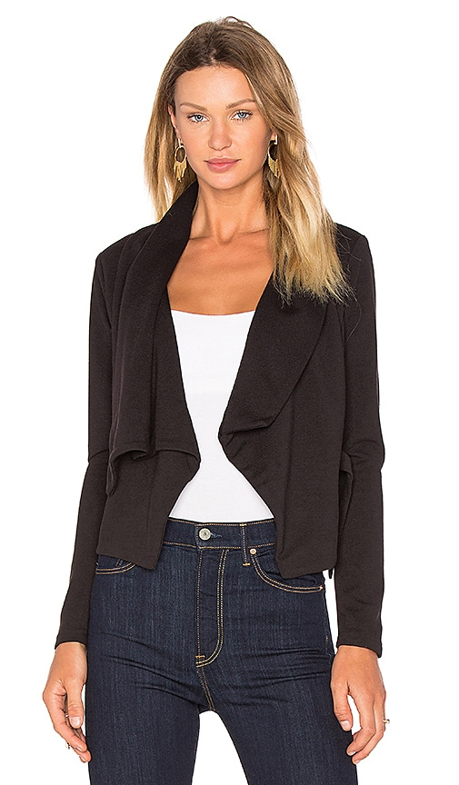 Bobi BLACK Knit Boucle Long Sleeve Front Draped Blazer in Black