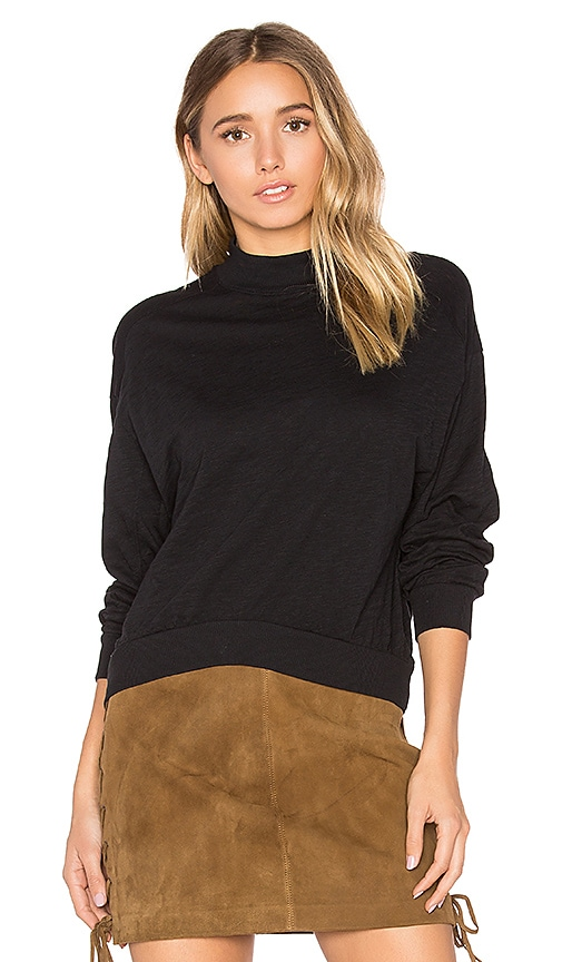 Bobi Slub Jersey Crop Sweatshirt in Black