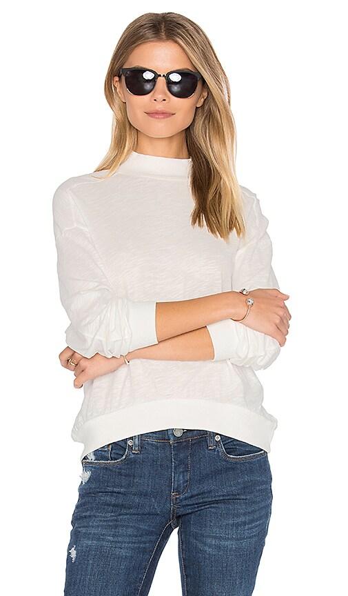 Bobi Slub Jersey Crop Sweatshirt in White