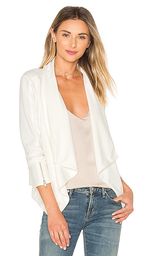 Bobi BLACK Boucle Moto Blazer in White