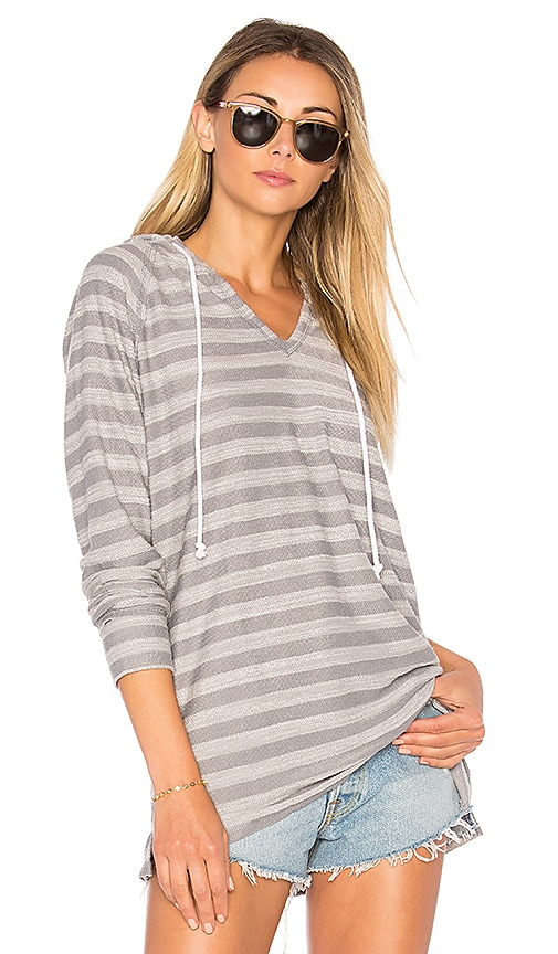 Bobi Beach Stripe Hoodie in Gray