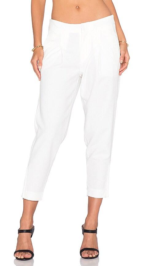 Bobi BLACK Textured Crop Pant in White