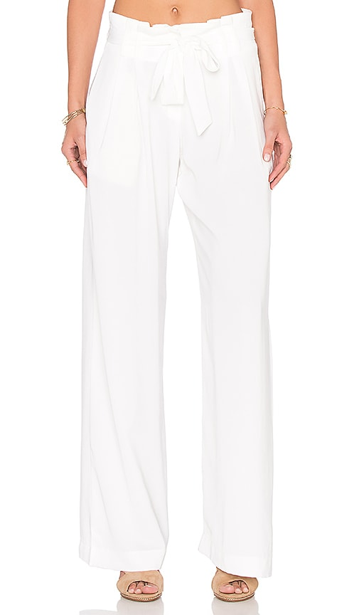 Bobi BLACK Georgette Wide Leg Pant in White