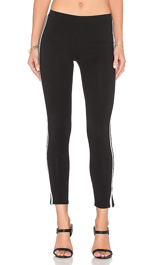 Bobi Heavy Spandex Racer Stripe Legging in Black & White