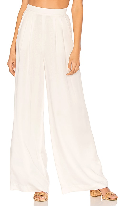 Bobi BLACK Modal Twill Wide Leg Pant in White