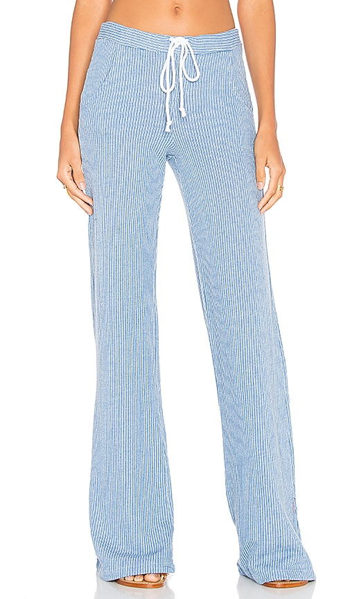 Bobi Knit Wide Leg Pant in Blue
