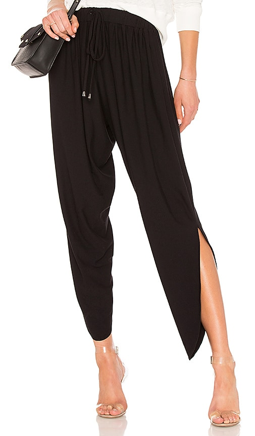 Bobi Jersey Draped Pant in Black