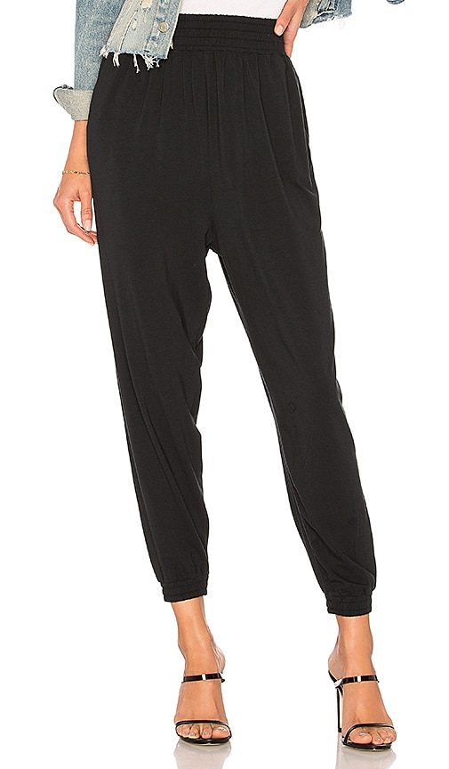 Bobi Draped Modal Jersey Jogger in Black