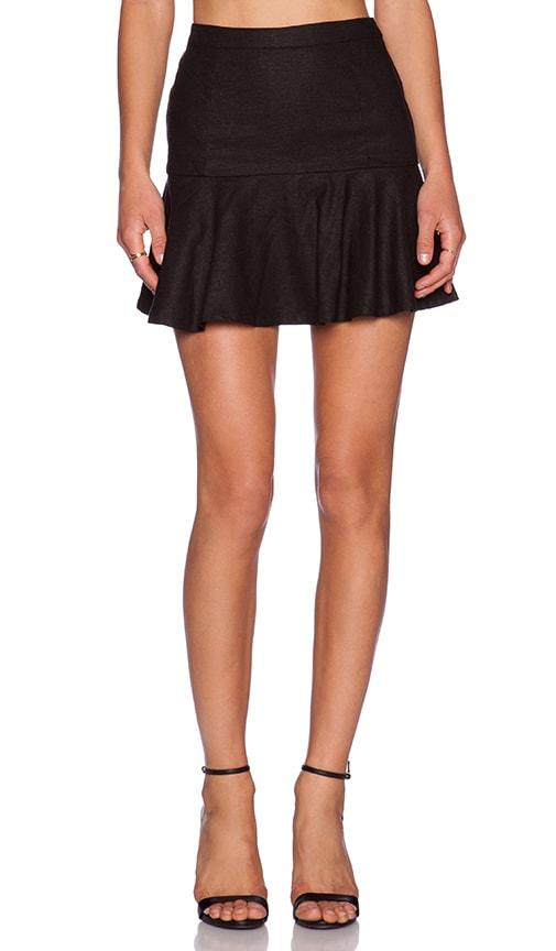 BLACK Stretch Linen Flare Mini Skirt