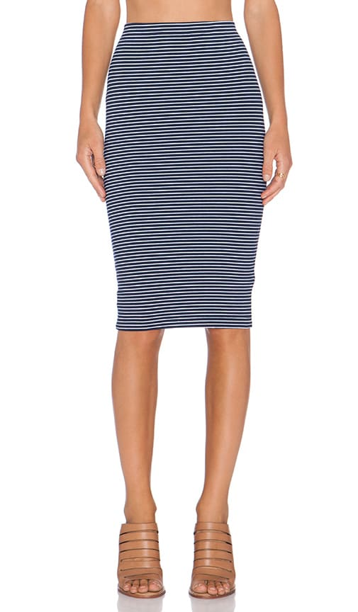 Striped Heavy Spandex Midi Skirt