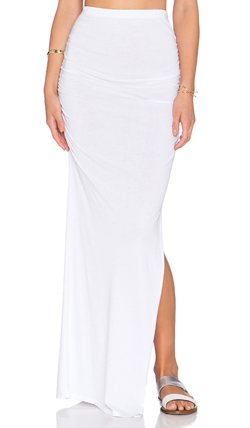 Bobi Modal Jersey Ruched Maxi Skirt in White