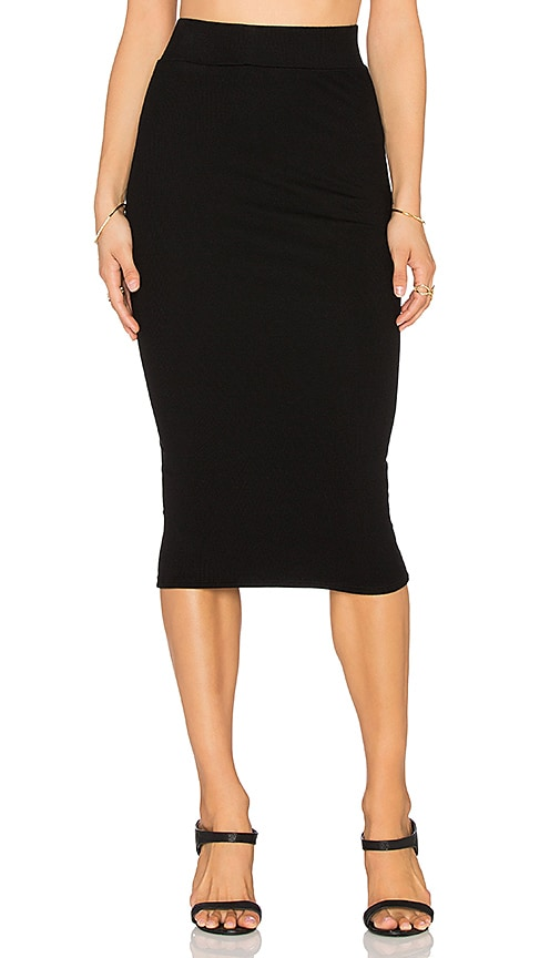 Bobi Cozy Spandex Pencil Skirt in Black