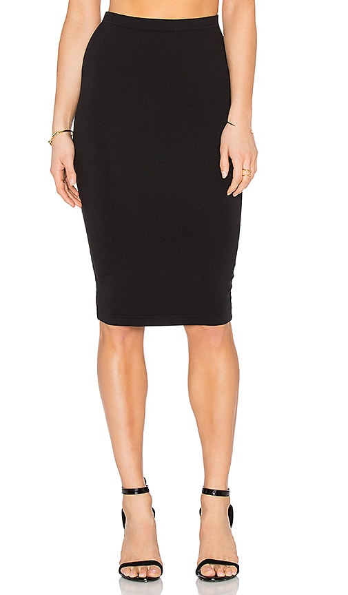 Bobi Heavy Spandex Pencil Skirt in Black
