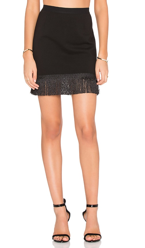 Bobi BLACK Double Knit Fringe Mini Skirt in Black