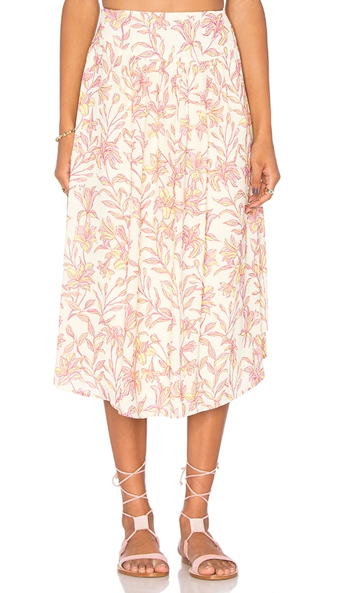 Bobi BLACK Printed Chiffon Maxi Skirt in Yellow