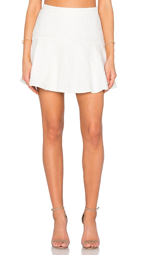 Bobi BLACK Mixed Chiffon Lace Skirt in White